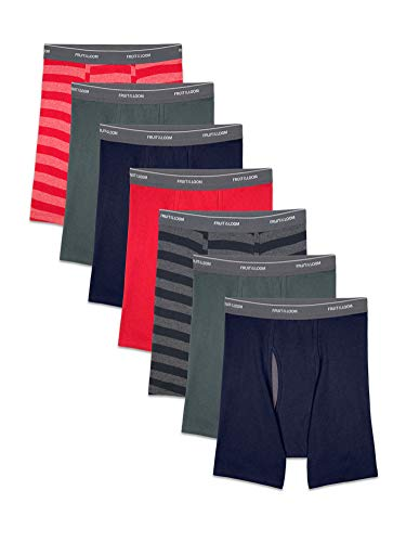 Fruit of the Loom Men's Coolzone Boxer Briefs, 7 Pack-Stripe/Solid, X-Large