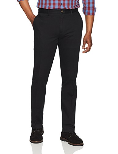 Amazon Essentials Men's Slim-Fit Wrinkle-Resistant Flat-Front Chino Pant, Black, 40W x 30L