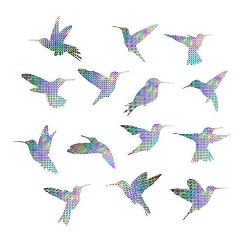 EACILLES Bird Deterrent Window Sticker Decals for Bird Strikes, Anti Collision Bird Alert, Stop Birds Flying Into Windows and Glass Doors, Hummingbird, 14 Pieces