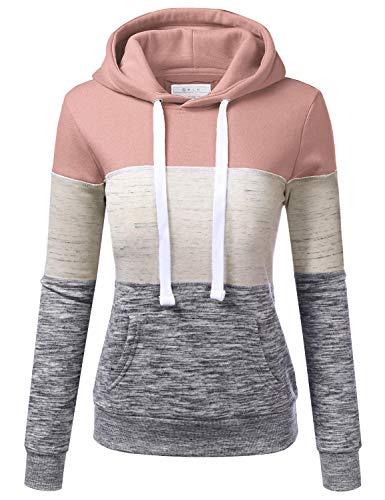 Doublju Basic Lightweight Pullover Hoodie Sweatshirt for Women Mauvepink M