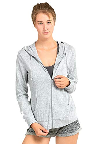 Sofra Women's Thin Cotton Zip Up Hoodie Jacket (L, Heather Gray)
