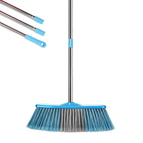 YONILL Indoor Outdoor Broom with Long Handle, 53' Angle Brooms for Floor Cleaning Heavy Duty Sweeping Broom for Garage, Patio, Garden, House and Kitchen