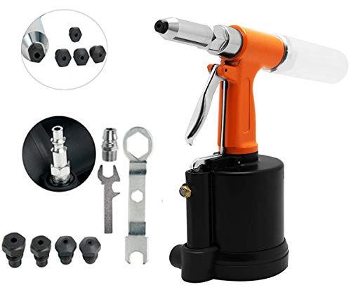 VOTOER Pneumatic Rivet Gun Hydraulic Air Riveter Tool Labor Saving Rivet Riveting Nut Nail Insert Hand Tool Set, 1/4-inch 3/16-inch 5/32-inch 1/8-inch 3/32-inch Nosepieces