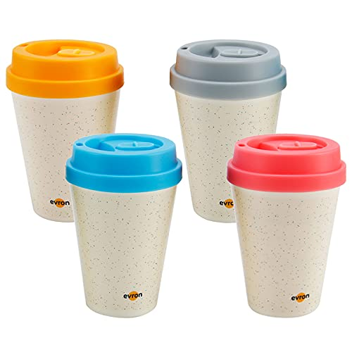 Evron Spill Proof Travel Mug with Anti-Leak Locking Lid, Insulated Double-Wall Coffee Mugs for Hot and Cold Drinks (10oz 4 Pack)