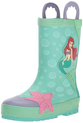 Western Chief Kids Waterproof Disney Character Rain Boots with Easy on Handles, Ariel Disney Princess, 4 M US Big Kid