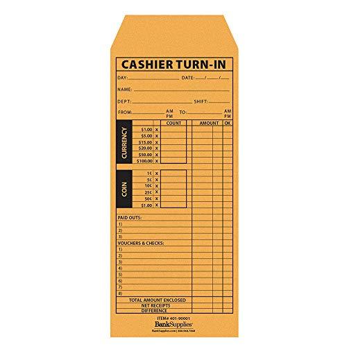 Cashier's Turn in Envelope - Cashier Report Envelope - 500 Envelopes