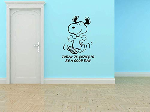 Snoopy Wall Decals for Kids Bedroom/Snoop Dog Boys Room Decor/Vinyl Art Stickers Decal Childrens Rooms/The Peanuts Movie Cartoon Character Fun Look Today Good Day Smile Happy Size 20x18 inch