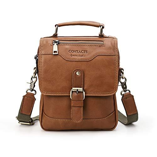 Leather Messenger Bag For Men, CONTACT'S Genuine Leather Crossbody Bag Shoulder 7.9' iPad Bag College School Travel Handbag