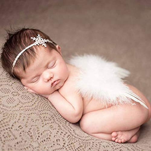 Fashband Newborn Angel Wings White Baby Angel Wings Nature's Blessing Wings And Headband Set Newborn Photo Prop for Baby Girl Boy Toddler