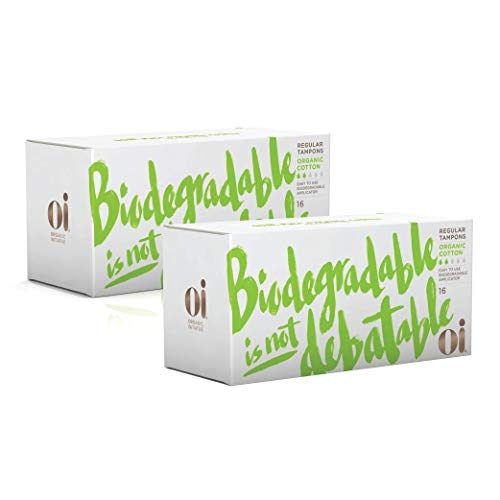 Oi Certified Organic Cotton Tampons, 2 Boxes of 16 Regular Tampons, Cardboard Applicator