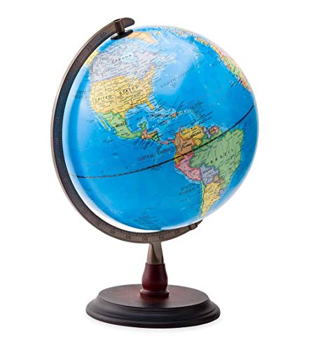 HearthSong 12' LED Light-Up World Globe with No-Tip Weighted Base, Includes Geographic and Political Boundaries for STEM Study, 18' H
