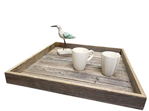 Ottoman Tray Made with Rustic Reclaimed Wood - Large Square Design for Coffee Table - Made in The USA (Grey 24'x24')