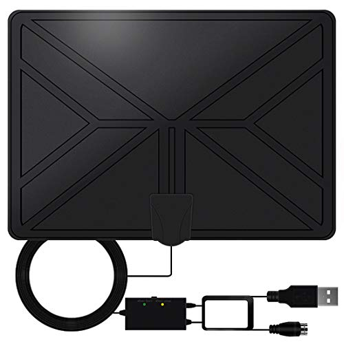 [2019 Upgraded] HDTV Antenna, Eaglean Indoor Digital HDTV Amplified Television Antenna Freeview 4K 1080P HD VHF UHF for Local Channels 80-120 Miles Range with Signal Amplifier Support All TV's