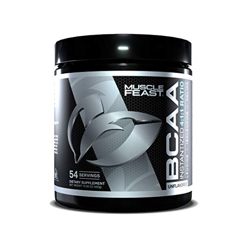 MUSCLE FEAST BCAA Powder 4:1:1 Ratio, Keto Friendly, Sugar Free, Post Workout Recovery, 54 Servings (300 Gram, Unflavored)