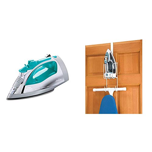 Sunbeam Steammaster Steam Iron | 1400 Watt Iron with Steam Control and Retractable Cord, Chrome/Teal & Whitmor Wire Over The Door Ironing Caddy - Iron and Ironing Board Storage Organizer