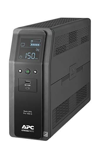 APC UPS, 1500VA Sine Wave UPS Battery Backup & Surge Protector, BR1500MS2, Backup Battery with AVR, (2) USB Charger Ports, Back-UPS Pro Uninterruptible Power Supply