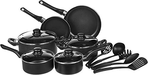 AmazonBasics Non-Stick Cookware Set, Pots, Pans and Utensils - 15-Piece Set