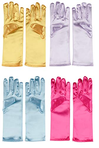Juvale Princess Gloves for Little Girls Dress Up (4 Pairs)
