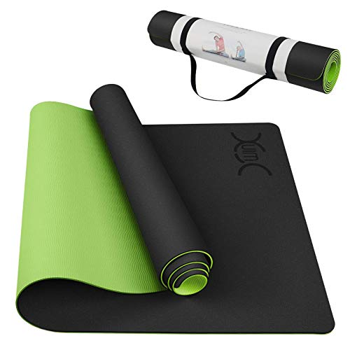 Yoga Mat with Carrying Strap Non-Slip 1/4 Inch Thick Eco-Friendly TPE Exercise Fitness Pilates Workouts for Men Women (72' x 26' x 1/4' Green & Black)