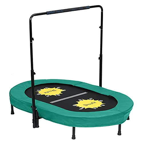 Trampoline for 2 Kids and Adults with Adjustable Handle Bar, Doufit TR-01 Double Jumping Fitness Rebounder Trampoline for Toddler Indoor and Outdoor Exercise with Spring Pad