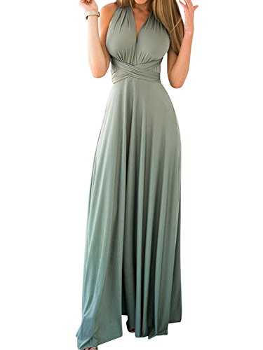 CHOiES record your inspired fashion Women's Convertible Gown Dress Green Multi-Way Strap Wrap Convertible Maxi Dress M