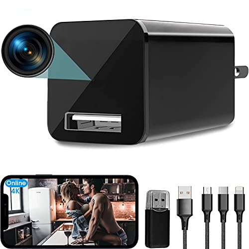 4K USB Hidden Camera Wall Charger WiFi, DZFtech Mini Spy Camera with Motion Detection, Indoor Surveillance Camera Wireless Hidden Cell Phone app Nanny Cam for Home Security and Office