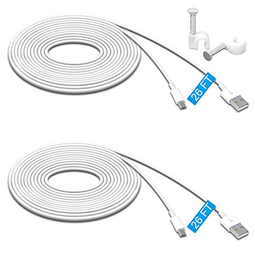 2 Pack 26FT Power Extension Cable for Wyze Cam v3, Wyze Cam Pan,WyzeCam,Kasa Cam.YI Dome Home Camera,Furbo Dog,Nest Cam,Oculus Go,Netvue, Durable Charging and Data Sync Cord for Home Security Camera