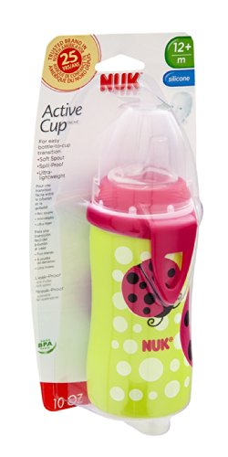 NUK BPA Free Active Cup With Clip 10 Oz - Asst. Girl Colors