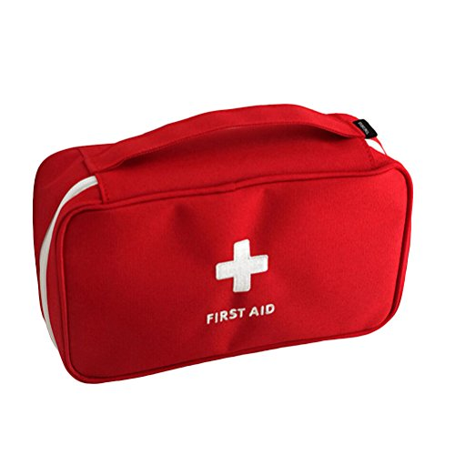 First Aid Bag Roomy Empty Kit Bag Medical Emergency Survival Outdoor Pouch (Red)