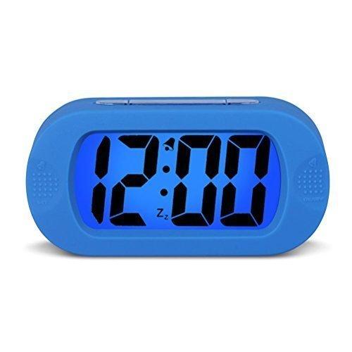 HENSE Large Digital Display Alarm Clock and Snooze/Nightlight(Blue Backlight) Light Sensor Travel and Home Bedside Alarm Clock,Battery Operated,Shockproof,Excellent Gift for Kids/Teens HA30 (Blue)