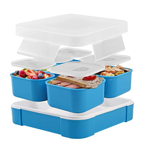 Fun Life Bento Lunch Box, 5 Compartment Insulated Leakproof Meal Prep Container Eco-Friendly Reusable for Men, Women, Adults, Kids (blue)
