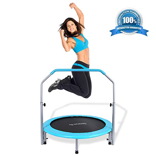 SereneLife Portable & Foldable Trampoline - 40' in-Home Mini Rebounder with Adjustable Handrail, Fitness Body Exercise, Springfree Safe for Kids - SLELT403
