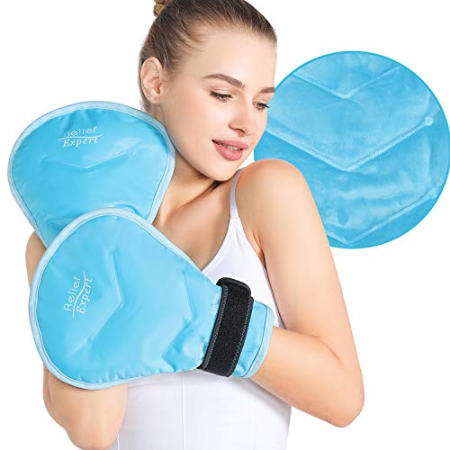 Relief Expert Hand Ice Pack Wrap for Cold Compression, Reusable Cold Therapy Gloves Instant Pain Relief for Carpal Tunnel, Arthritis, Finger, Wrist and Hand Injuries - Soft Plush Lining