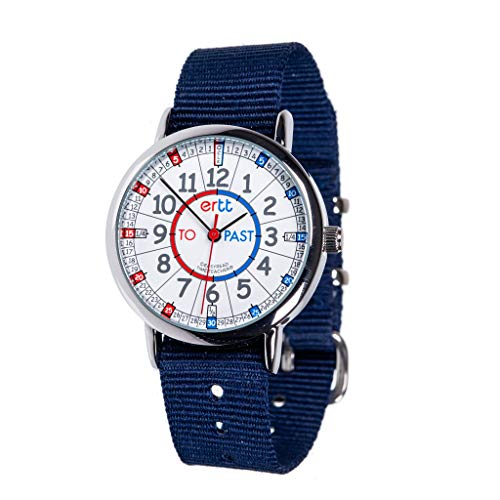 EasyRead Time Teacher Children's Watch, Red Blue Past & to Face, Navy Blue Strap