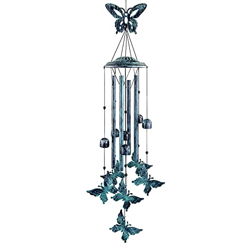 YIYUN Butterfly Wind Chimes Outside Windchimes Large Aluminum Tubes Outdoors Wind Chimes for Patio, Garden, Porch or Indoor Decoration, Memorial Butterfly Wind Bells Gift