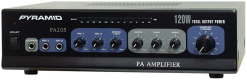 70V PA Speaker Amplifier Receiver - 120W Multi-Channel Public Address Audio Amplifier w/ Microphone Input, Mic Talkover, AUX/CD Player Support, For Home Audio System, DJ Sound System - Pyramid PA205