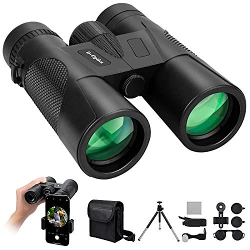 12 x 42 Binoculars for Adults Bird Watching, Low Light Night Vision Binoculars with Phone Adapter and Adjustable Tripod, Powerful BAK4 Prism FMC Lens, Waterproof HD Binoculars for Hunting Sports