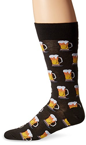 Hot Sox Men's Food and Booze Novelty Casual Crew Socks, Beer (Black), Shoe Size: 6-12
