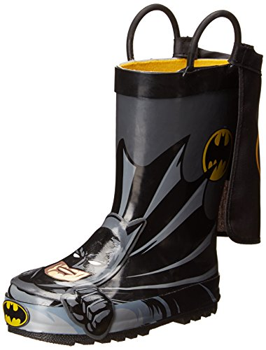 Western Chief Kids Waterproof D.C. Comics Character Rain Boots with Easy on Handles, Batman Everlasting, 10 M US Toddler