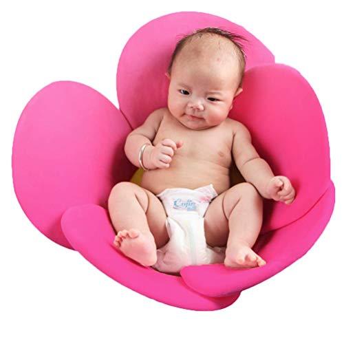 Baby Bath Pad, Comfort Pink Baby Soft Flower Bath Infant Bathtub Mat Baby Bath Support Lounger for Newborn 0-12 Months,Machine Washable
