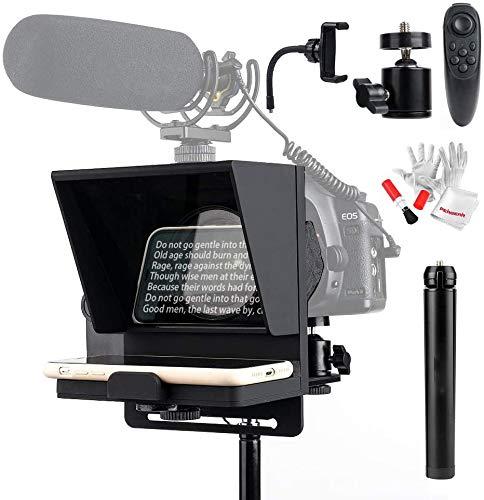 Pergear Mini Portable Adjustable Teleprompter Kit for Smartphone iPhone DSLR Recording, with Remote Control, Tripod Ball Head & Aluminum Mini Tripod