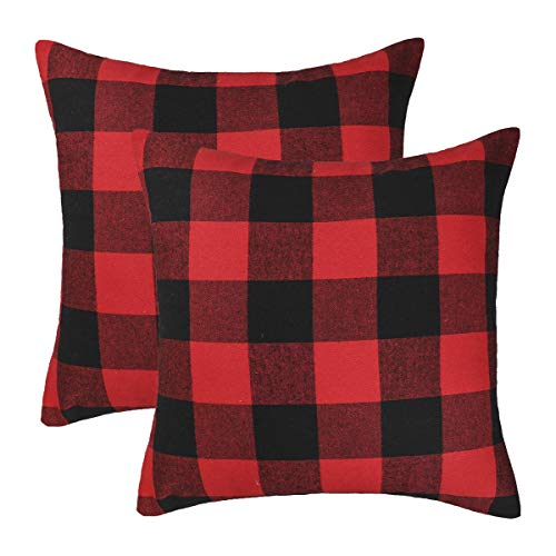 4TH Emotion Set of 2 Christmas Buffalo Check Plaid Throw Pillow Covers Cushion Case Polyester for Farmhouse Home Decor Red and Black, 20 x 20 Inches