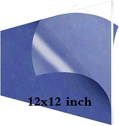 3mm Clear Lucite Cast Acrylic Sheet Pack 3 - Plexiglass Sheet - Perspex Sheet 12x12 Square Panel 1/8 Thick,Transparent Plastic Acrylic Plexi Glass Board for DIY Display Project,Handicrafts,Replacement