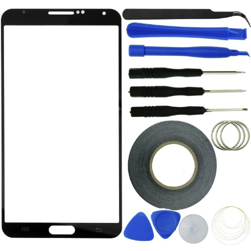 Eco-Fused Screen Replacement Kit compatible with Samsung Galaxy Note 3 including Replacement Screen Glass / Tweezers / Adhesive Tape / Tool Kit / Microfiber Cleaning Cloth Manufacturer: E