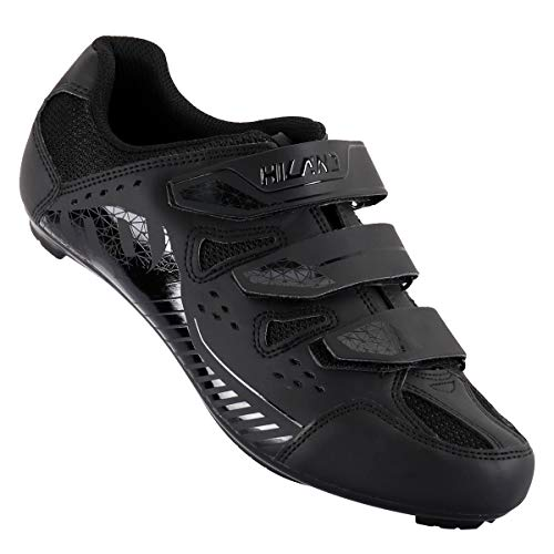 Hiland Indoor Cycling Shoes 3 Bolt Spin Road Bike Shoe for Women Men Spinning MTB Lock Pedal Bicycle Cleated Compatible with Look Keo Delta Shimano SPD SPD-SL Cleats Black White 41