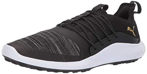 PUMA Golf Men's Ignite Nxt Solelace Golf Shoe, Black Team Gold, 11 M US