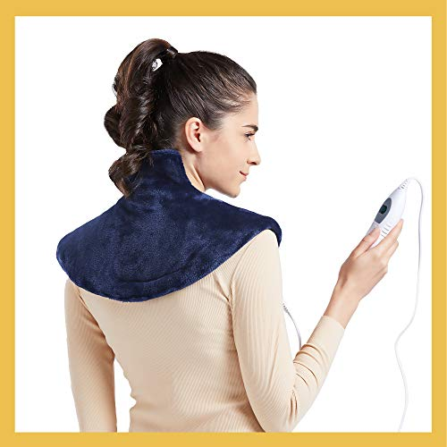 [New LANCH] WOOMER Standard Electric Heating Pad Wrap for Shoulder Neck and Back Pain Relief, Equipped with Fixed Button to Stick Closely, 3 Heat Settings, Auto Shut Off, Navy, 15.5'x18'…