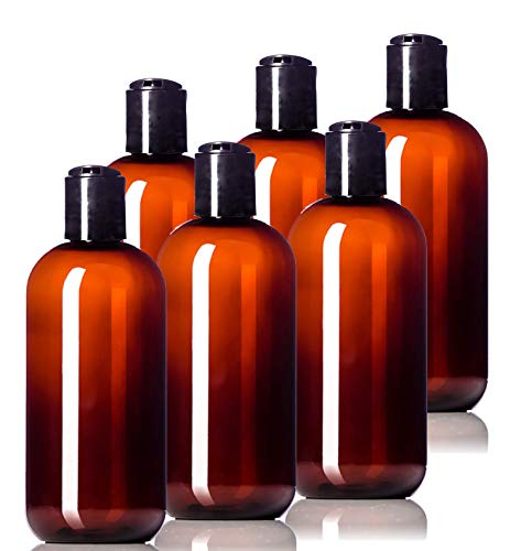 8oz Plastic Amber Bottles (6 Pack) BPA-Free Squeeze Containers with Disc Cap, Labels Included