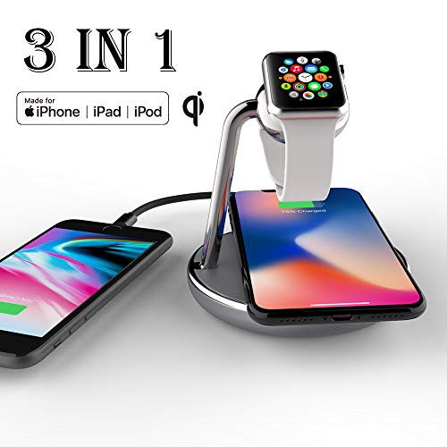 Mangotek Watch Charger and iPhone Wireless Charging Station, Qi Fast Charge Dock Pad Stand with Watch Magnetic Charger Module and USB Port for Apple iWatch,iPhone 11/11 Pro/X/XS/XR/8, MFi Certificated
