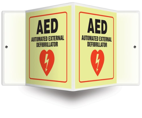 Accuform Signs PSP861 Projection Sign 3D, Legend 'AED AUTOMATED EXTERNAL DEFIBRILLATOR' with Graphic, 6' x 5' Panel, 0.10' Thick High-Impact Lumi-Glow Plastic, Pre-Drilled Mounting Holes, Red/Black on Glow